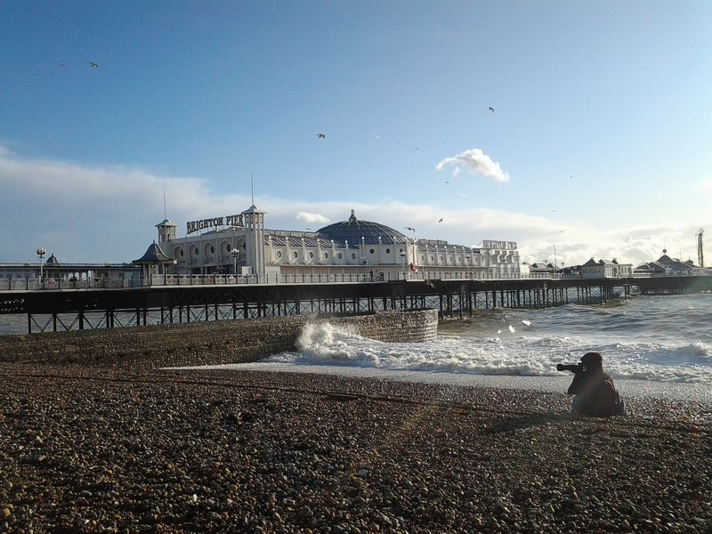 Brighton Palace Pier, with photographer