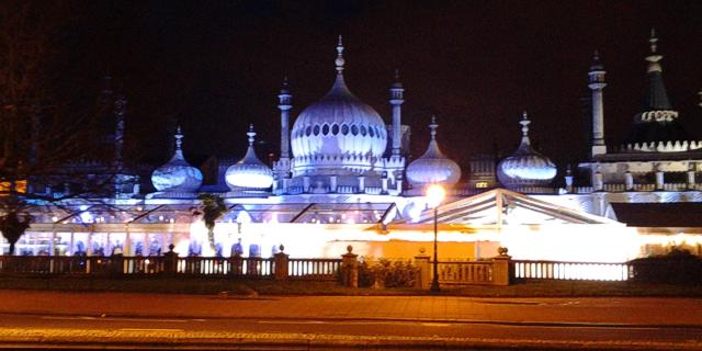 Brighton Pavilion at night, as seen from Grand Parade